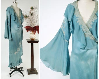 RESERVED ON LAYAWAY Vintage 1930s Peignoir  - Spring 2018 Lookbook - Turquoise Blue Silk Satin and Chiffon 30s Wrap Style Robe with Amazing
