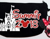 Awesome black cheer makeup bag customized for your special event with Minnie Mouse - by FunBows !