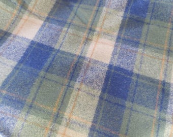 "Wonderful Vintage Deadstock Plaid Wool Fabric / 13 ft long / 63"" wide / blue green plaid / pendleton / ralph lauren"