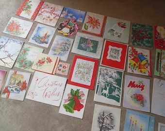 Lot of 30 used vintage christmas cards / 1940s thru 1960s Retro, Mid Century Design / a few unused /