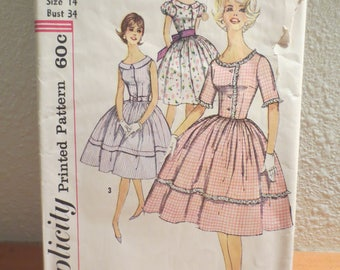 Vtg Simplicity Pattern 3444 / Size 14 Bust 34 / Jr. and Misses One Piece Dress / 1960s pattern / pattern instructions