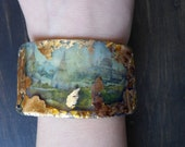 Rustic resin cuff bracelet connector, handmade art jewelry supplies by fancifuldevices