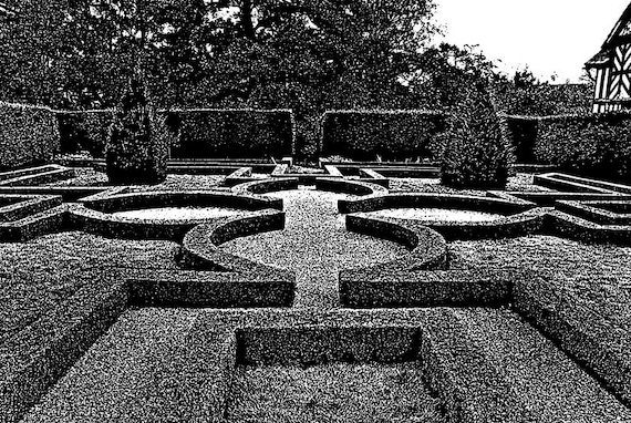 """garden maze printable abstract landscape digital art download graphics images black and white impressionism ink style artwork 8.6"""" x 12.9"""""""