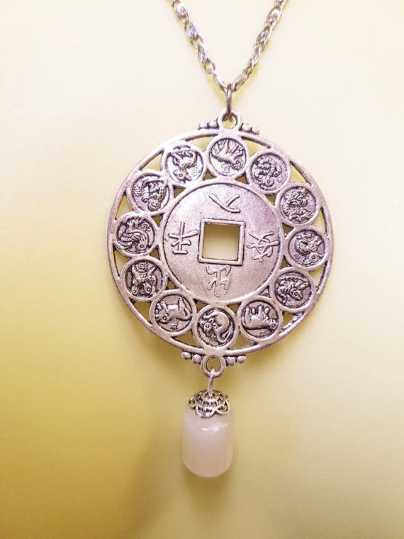 silver chinese ZODIAC pendant NECKLACE silver metal horoscope birth sign handmade jewelry