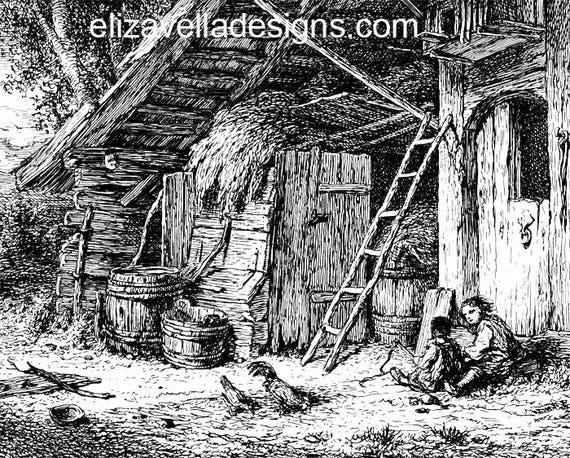 sisters farm chickens printable vintage art illustration png digital graphics image clipart