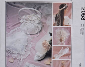 Bridal Accessories 1980s McCalls 2058 Sewing Pattern Alicyn Exclusives Garter / Gloves / Ring Bearer Pillow / Purse / UNCUT FF