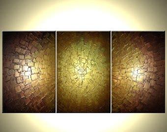 Abstract Metallic Art, Large Gold ORIGINAL Painting, Textured Contemporary Art Lafferty - 72x36 - Art On Sale