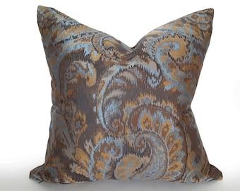 Metallic Paisley Pillow, Brown Blue Gold Pillow Cover, Paisley Decorative Pillows, Mens Contemporary Pillow, Masculine Home Decor, 18x18 NEW