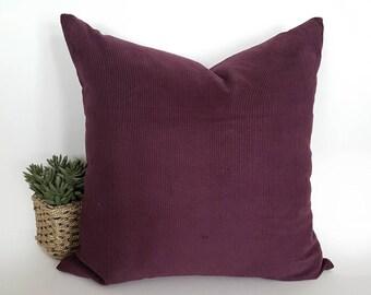 Burgundy Pillows, Solid Red Pillow, 20x20, Maroon Pillows, Throw Pillows, Merlot, Wine, Velvet Texture, Corduroy, Winter Decor, 20x20, 14x20