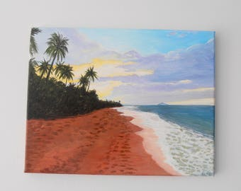 "Gallery Wrapped Stretched Canvas original Art 11"" x 14""  view of Desecheo Rincon P.R"