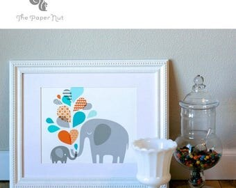"""SUMMER SALE 10X8"""" elephant mommy & baby landscape format giclee print on fine art paper. teal turquoise blue, orange and gray."""