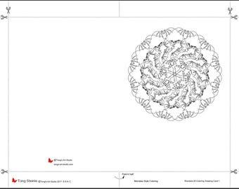 Printable Mandala Coloring Greeting Card-020-1, Halloween greeting card, Printable Mandala,Greeting Card for all purposes,DIY coloring cards