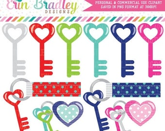 80% OFF SALE Key Clipart New Home or Moving Digital Clip Art Graphics Heart Keys and Keychains Personal & Commercial Use