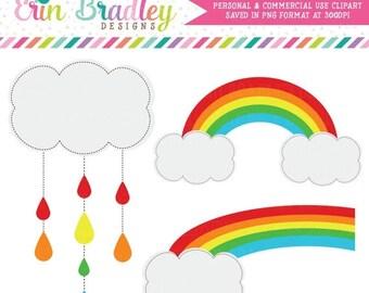 80% OFF SALE Rainbow Clipart, Weather Clipart, Sunshine & Rain Clip Art Graphics, Commercial Use OK