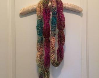 Handknit multi color scarf