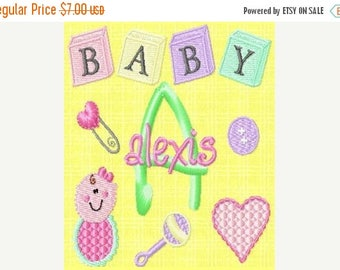 SALE 65% OFF Baby Girl Monogram Fonts and Machine Embroidery Designs Set Instant Download Sale