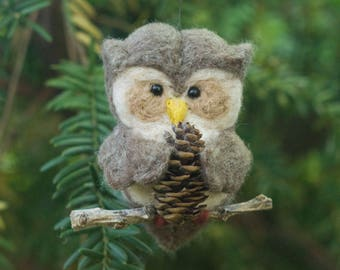 Needle Felted Owl Ornament - Holding Pine Cone