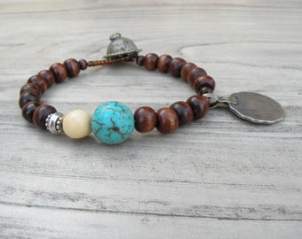 Gypsy Mala Bracelet, Dark Wood, Tribal Coin, Charm Bracelet, Turquoise and Brown Bracelet, Handmade