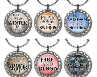 Game of Thrones Fan Themed Wine Tags, Party Favors, Wedding, Birthday, Book Fan Wine Charms, Quote, Gifts for Booklovers, Geekery