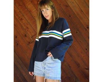 Prep Stripe Pullover 90s Sweater - Vintage - L