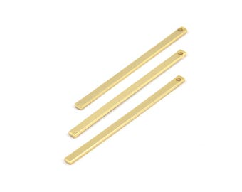 Tiny Gold Bar, 12 Gold Plated Necklace Bars (40x2x0.80mm) A0862 Q151