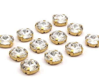 12 Ss60 Clear Crystal Rivoli Sew On Rhinestone Raw Brass Prong Setting 4 Hole Slider 14mm Y258