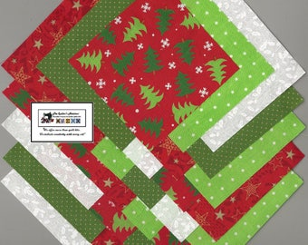 "25~5"" Christmas Trees_Stars Fabric Squares/Quilt/Craft/Sewing/Charm Packs #5187"