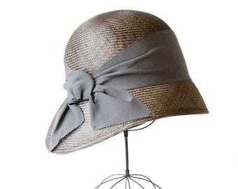 Gray Straw Cloche Hat Women's Hat Fall Fashion Fall Accessories Fall Hat Great Gatsby Hat Downton Abbey Hat Wedding Hat Simple Cloche Hat