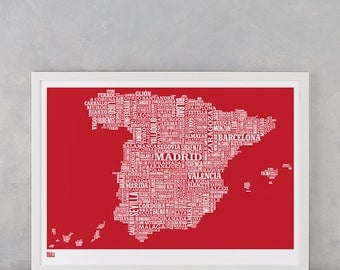 Spain Type Map, Spain Type Map Screen Print, Spain Screen Print, Spain Word Map, Spain Font Map, Spain Wall Poster, Spain Wall Art Print