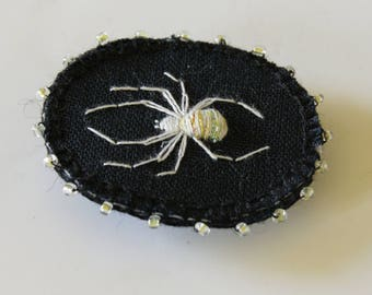Lucky White Spider Brooch Textile Jewelry Hand Embroidery Natural History Wildlife Art Arachnophile Lucky Charm