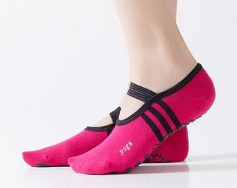 Yoga socks with strap, non slip, grip sole, anti slip, pilates, barre, dance, ballet, women's socks, cotton