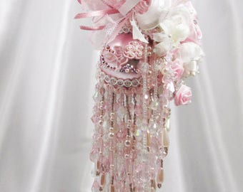 Fairylicious Pale Pink and Crystal AB Beaded Victorian Ornament with 80 Swarovski Crystals and Pearls