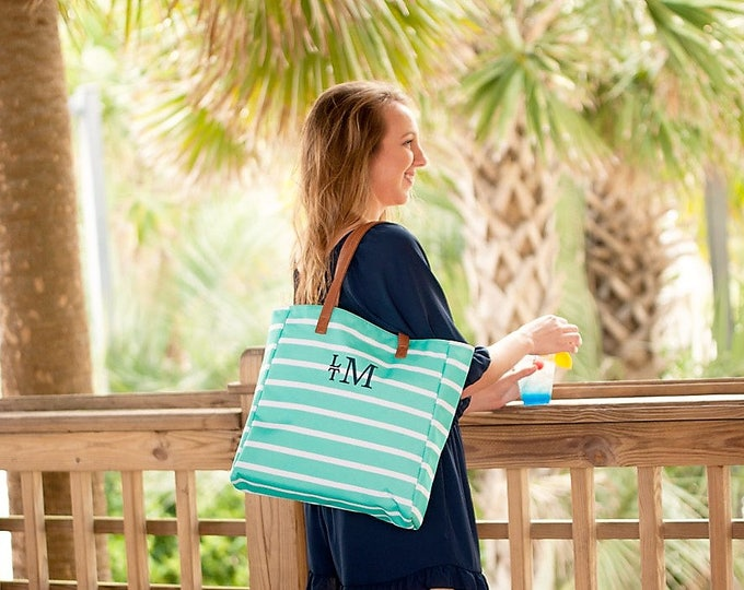 TWO Mint Monogrammed Striped Tote Bags Personalized Shoulder Beach Bags Overnight Wedding Bridesmaids Outer Banks BeachHouseDreamsHome OBX