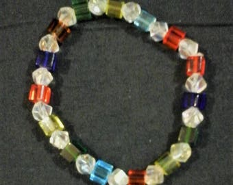 square bead and clear crystal bracelet