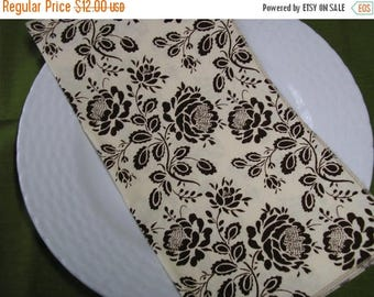 CLEARANCE SALE Cloth Napkins Lunch Dinner Brown Floral on Cream Set of 6