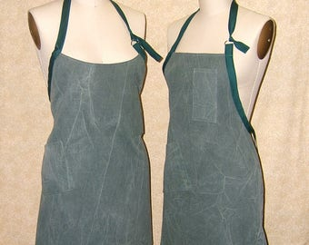 Canvas Apron adjustable neck strap olive green chef style or wrap around supple cotton canvas 2 two pockets recycled upcycled fabric