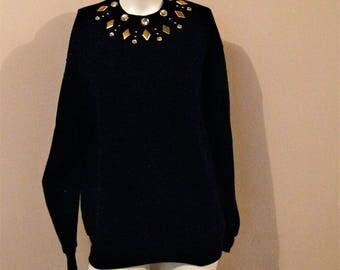 Vintage Sweatshirt Studs and Rhinestones on Black