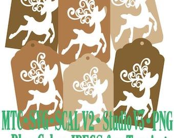Set 08 Christmas Reindeer Gift Tag Bundle of 6 Cut Files MTC SCAL SVG File Format