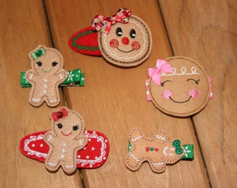 Choose Your Favorite Gingerbread Themed Hair Clip, Christmas Hair Clip