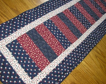 Quilted Table Runner, Stacked Coins Reversible Patriotic Runner,  12 1/2 x 39  inches