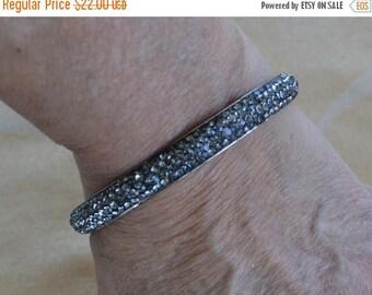 On sale Beautiful Vintage Sparkly Gray Rhinestone Bangle Bracelet, Silver tone