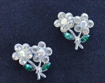 On sale Pretty Vintage Rhinestone Floral Scatter Pin, Aurora Borealis, Green, Silver tone, (2)  (Y4)