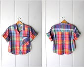 80s colorful plaid shirt button up crop top madras boxy tee Vintage short sleeve preppy Cotton Tshirt BUTTONS in BACK Summer womens Medium