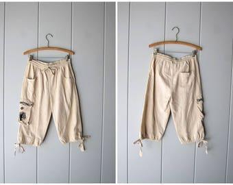 Vintage Natural Cotton Capris Minimal Elastic Waist Drawstring Shorts Ethnic Cargo Shorts Summer Hippie Lounge Shorts Womens Medium Large