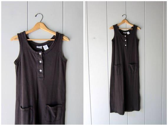 90s Black Cotton Dress Basic Sundress Sleeveless Vintage Long Black Dress Button Up Sun Dress Minimal Sporty Tank Dress Womens Small
