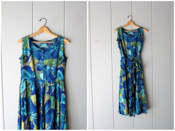 Vintage Tropical Sundress Sleevless Midi Dress Blue Green Palm Leaf Print Boho Beach Dress Summer Flowy Sun Dress Womens Medium