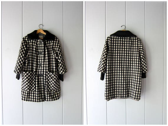 Vintage 50s Black White Checked Wool Coat PENGUIN 60s MOD Coat Checkered Shearling Lined Winter Fall Coat Womens Medium Large
