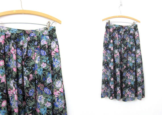 Long Sheer Skirt See Through Floral Print Midi Skirt Flower Pattern Skirt Bohemian High Waist Skirt 1990s Revival Womens size Small