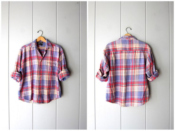 80s Plaid Flannel Shirt Autumnal Oversized Soft Cotton Fall Shirt Flannel Workwear Rugged Boyfriend Shirt Red Purple Mens Medium Small