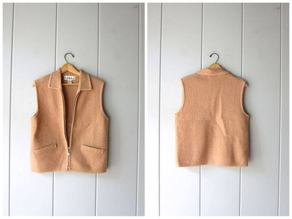 Boiled Wool Vest 90s Beige Sweater Vest Zip Up Sleeveless Sweater Coat Minimal Outdoor Vest Top Zipper Sweater Jacket Modern Womens Medium